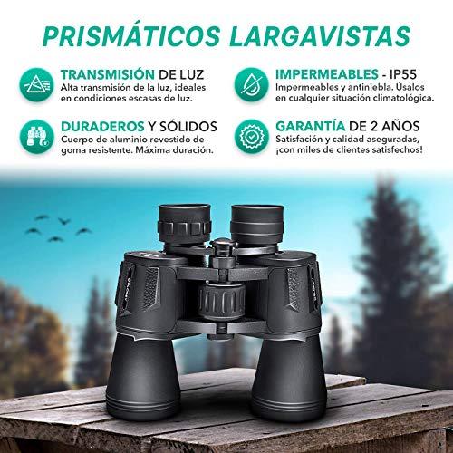 Prismáticos 10x50 Slokey – Binoculares Largavista Profesionales, de Largo Alcance y Potentes para Adultos. Ideales para Caza, Astronomía, Observación de Aves y Camping. Incluye Funda, Correa y Gamuza