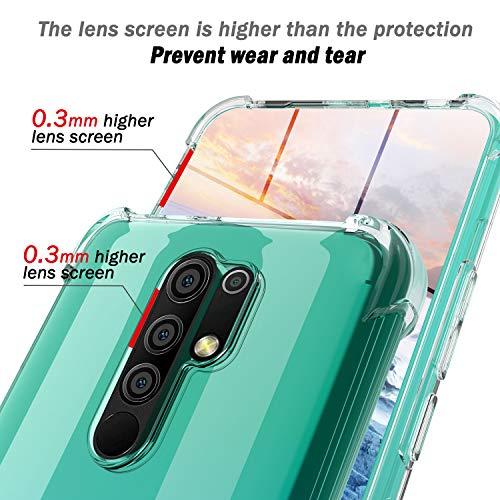 QHOHQ Funda para Xiaomi Redmi 9 con 2 Unidades Protector de Pantalla, Carcasa Anti-Choques y Anti- Arañazos - Cristal Templado Membrana - [9H Dureza] - [Anti-Arañazos]