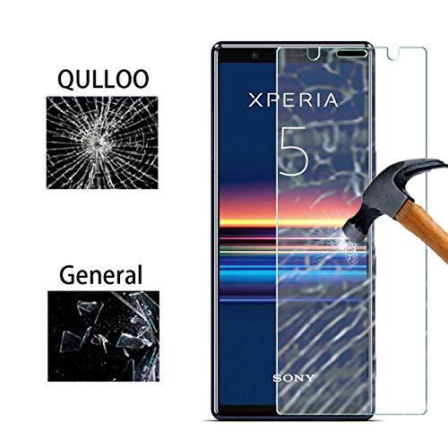 QULLOO Protector de Pantalla Sony Xperia 5, Cristal Templado [9H Dureza][Alta Definición][Fácil de Instalar] para Sony Xperia 5 (2 Piezas)