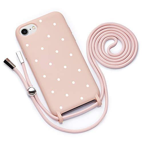 QULT Funda con Cuerda Compatible con iPhone 6 /6s Plus, iPhone 7/8 Plus Carcasa de movil con Colgante Cadena Suave Silicona Necklace Bumper Rosa Pastel Motivo Puntos Blancos