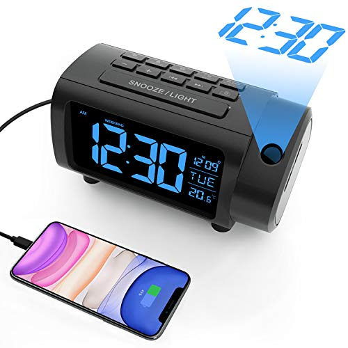Radio Despertador Proyector, Liorque Reloj Despertador Digital con Gran VA Pantalla, Radio Reloj FM, C°/F°, 12/24 H, DST, 4 Niveles de Brillos, USB, Despertador Digital 180° con Función de Memoria