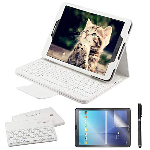 REAL-EAGLE Galaxy Tab S2 9.7 Teclado Funda(QWERTY), Funda de Cuero con Desmontable Inalámbrico Bluetooth Teclado para Samsung Galaxy Tab S2 9.7 SM-T810 T813 T815 T819 Tablet, White