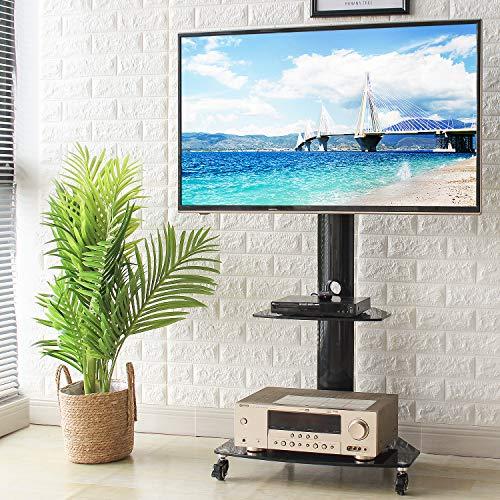 RFIVER Soporte TV Móvil de Suelo con Ruedas para Television de 27 a 55 Pulgadas con Altura Ajustable y Giratorio TF9001