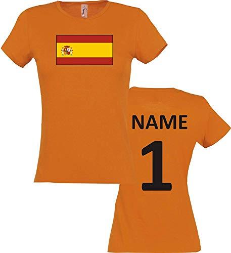 Shirtinstyle Mujer Camiseta España España Camiseta de País con el Nombre Deseado y Número - Naranja, XL