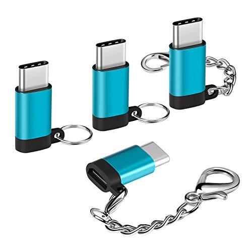 Skyee Adaptador USB C a Micro USB con Llavero, [4 Unidades] in Aluminio Conectores USB Tipo C con OTG para Samsung Galaxy S9/S8, Huawei P20, MacBook Pro 2017 y Más Tipo C USB Dispositivos - Azul