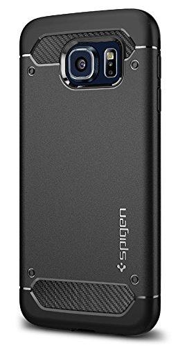 Spigen Funda Rugged Armor Compatible con Samsung Galaxy Galaxy S6 (2015), Absorción de Choque Resistente y diseño de Fibra de Carbono - Negro