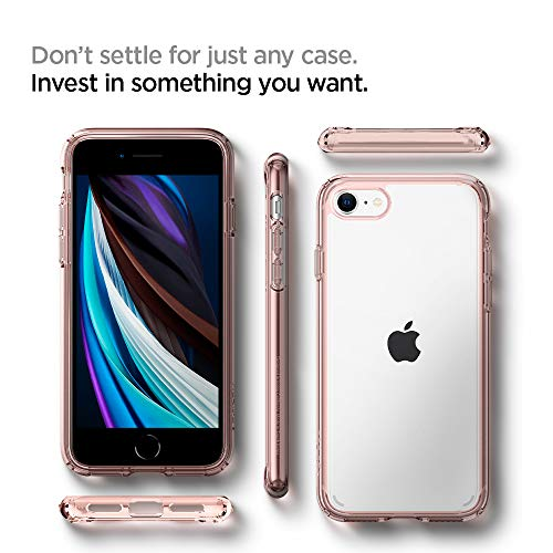 Spigen Funda Ultra Hybrid Compatible con Apple iPhone SE 2020/ iPhone 8/7 - Rosa Cristalina