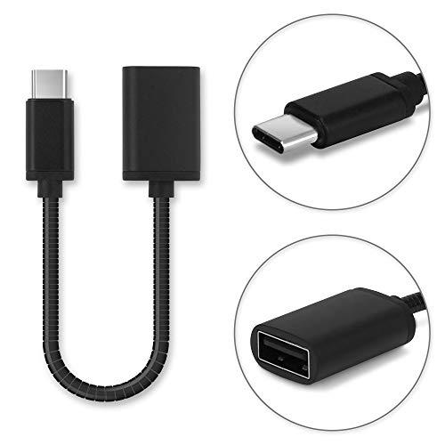 subtel® Cable OTG Compatible con OPPO Reno/Reno 2 / Reno 2Z / A52 / A72 / A91 / K3 / R9S / R17 / Find X2 Neo Adaptador OTG Tipo USB C Type C Cable Host USB OTG ALU Conector OTG Conexion OTG Negro