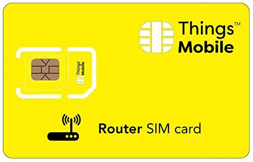 Tarjeta SIM para ROUTER - Things Mobile - con cobertura global y red multioperador GSM/2G/3G/4G, sin costes fijos, sin vencimiento y con tarifas competitivas. 10 € de crédito incluido
