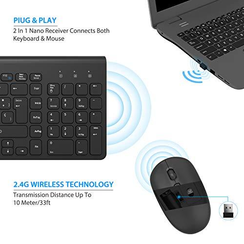 TedGem Teclado y Raton Inalambrico Español, 2.4G Ergonómico Teclado Inalambrico USB Teclados Inalambricos Ordenador 2-in-1 USB Nano para Win 7/8/10/2000 / XP/Vista(Ultrafino Silencioso & ES Layout)