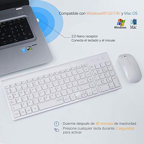 TopMate Combo de Teclado y Mouse inalámbricos 2.4GHz Teclado y Mouse inalámbricos ultrafinos y silenciosos Diseño ergonómico para PC portátil | Blanco