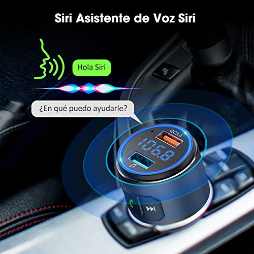 Transmisor FM Bluetooth 5.0 para Coche, [Luz LED Anillo] QC3.0 VicTsing Mini Transmisor Bluetooth Manos Libres con Siri Asistente, Reproductor MP3 Coche, Adaptador de Radio Hi-Fi Música Spotify