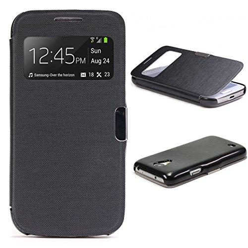 Urcover Funda Compatible con Samsung Galaxy S4 Mini S-View Carcasa con Tapa Libro Cierre magnetico, Billetera Flip Case protección Pantalla con Ventana Wallet Cover - Negro