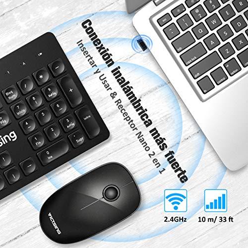 VicTsing Pack Teclado y Ratón Inalámbrico 2.4 GHz, QWERTY Español Chiclet Teclado, Teclado Inalámbrico Raton silencioso Portátil, Larga Duración de la Batería