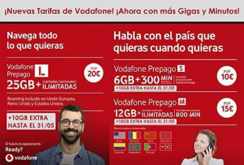 Vodafone Prepago M 12GB + Llamadas ilimitadas Nacionales (800 min internacionales) Roaming Europa EEUU