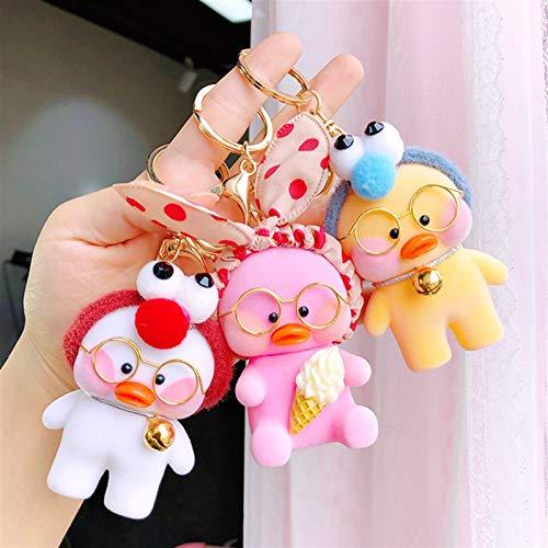 Xssbhsm Llaveros Personalizados Kawaii Duck Cafe Llaveros Cadena Linda muñeca de la Historieta Clave niña Juguetes de cumpleaños Regalo de los niños (Color : Orange)
