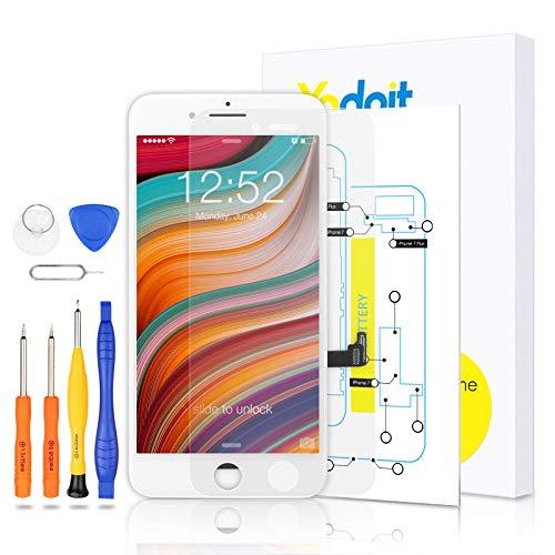 Yodoit para Pantalla iPhone 7 Plus Blanco, Conjunto de Pantalla LCD y digitalizador Reemplazo de la Pantalla táctil de Vidrio con Marco + Kit de Herramientas de reparación (5,5 Pulgadas)