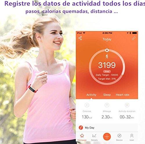 Yoolaite Pulsera Inteligente, Fitness Tracker, Monitor de Ritmo Cardíaco,GPS para Correr, Podómetro, Sueño, Contador de Calorías,Notificación de SMS, Impermeable IP67 para iOS y Android