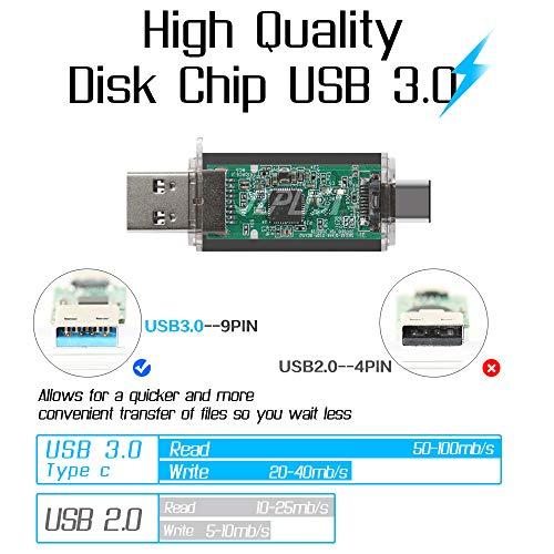 YZPUSI 64 GB Memoria USB, 2 en 1 USB 3.0 Doble Transforma Pendrive para PC y Android con OTG Tipo C, Memoria USB Compatible con Smartphones y Tableta Memory Externa