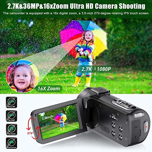 ZORNIK Videocámara, Cámara de Video con Visión Nocturna Digital por Infrarrojos de 36 Megapíxeles, Cámara de Vlogging con Pantalla Táctil LCD de 3.0 Pulgadas y Zoom Potente de 16X