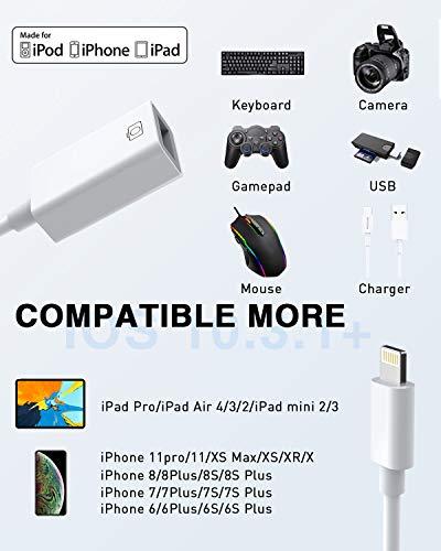 Adaptador de cámara USB, MOYAGOA Lightning a OTG actualizar USB 2.0 OTG Cable adaptador Lightning a USB hembra para iPhone/iPad con certificación MFI, compatible con cámara de conexión, iPhone/iPad