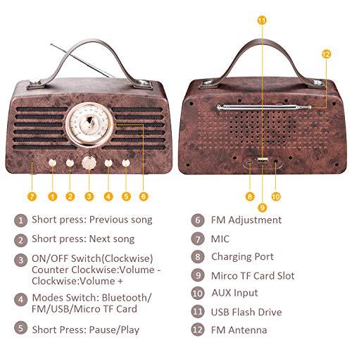 Altavoz Retro Bluetooth, Altavoz inalámbrico portátil Aurtec Bluetooth 4.2 con Radio FM, Altavoz estéreo de Audio para el hogar con Sonido Potente y subwoofer, Marrón
