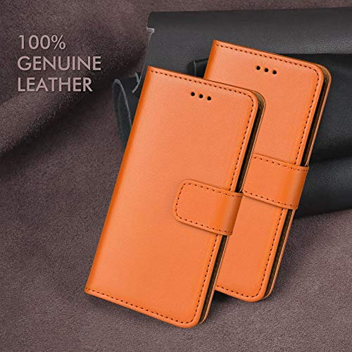 """ameego Premium Genuine Real Leather Slim Wallet Flip Stand Case Cover for Samsung Galaxy A5 2015 (5.0"""") - Orange"""