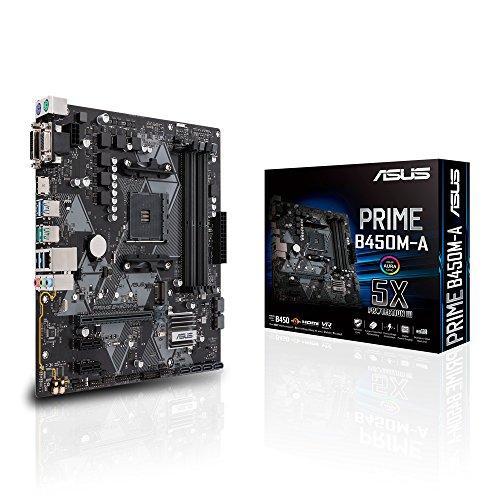ASUS PRIME B450M-A - Placa base AMD AM4 mATX con conector Aura Sync RGB, DDR4 3200 MHz, M.2, HDMI 2.0b, SATA 6 Gbps y USB 3.1 Gen. 2, soporta Ryzen 3000