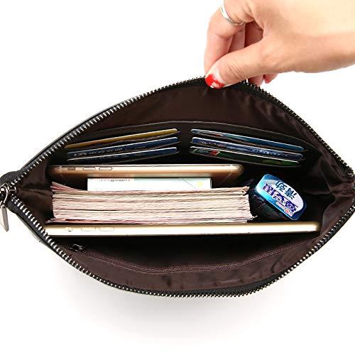 Bolso De Mano Para Hombres Billetera De Gran Capacidad Para Negocios Y Teléfonos Móviles Nueva Moda Europea Y Americana Bolsos De Embrague Negro Liso