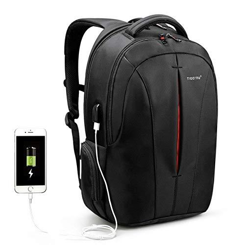 BOYUHII Deportes Bolsa Mochila Impermeable de 15,6 Pulgadas portátil Backpackage Antirrobo Viajes de Negocios Backpackage Escuela de Bolsa (USB Negro + Naranja) ATCYE (Color : Black+Orange USB)