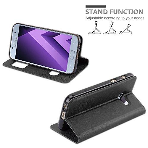Cadorabo Funda Libro para Samsung Galaxy A5 2017 en Negro Cometa - Cubierta Proteccíon con Cierre Magnético, Función de Suporte y 2 Ventanas- Etui Case Cover Carcasa