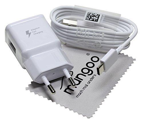Cargador para Original Flash rápido Samsung 2A + USB Cable de Tipo C Cable de Carga de Datos para Samsung Galaxy A5 2017 (A520F) con mungoo Pantalla paño de Limpieza