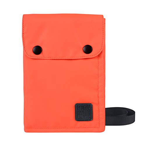 Cartera con bloqueo RFID, bolsa de pasaporte de viaje impermeable, bolsa de identificación de almacenamiento de tres capas, bolsa de almacenamiento multifuncional para trabajo, estudio y viaje Orange
