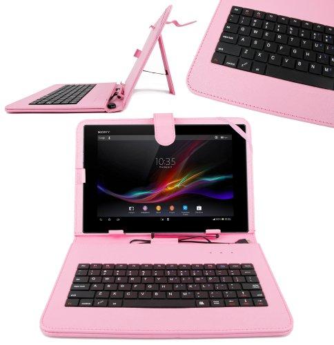 DURAGADGET Funda/Teclado Color Rosa En ESPAÑOL con Letra Ñ para Sony Xperia Z/Tablet S - con Conexión MicroUsb + Lápiz Stylus
