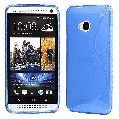 ebestStar - Funda Compatible con HTC One M7 Carcasa Gel Silicona Gel TPU Motivo S-línea, S-Line Case Cover, Azul [Aparato: 137.4 x 68.8 x 9.33mm, 4.7'']