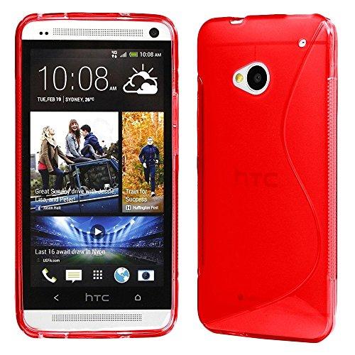ebestStar - Funda Compatible con HTC One M7 Carcasa Gel Silicona Gel TPU Motivo S-línea, S-Line Case Cover, Rojo [Aparato: 137.4 x 68.8 x 9.33mm, 4.7'']
