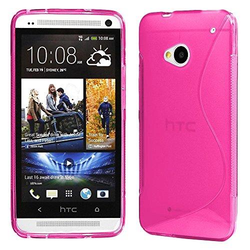 ebestStar - Funda Compatible con HTC One M7 Carcasa Gel Silicona Gel TPU Motivo S-línea, S-Line Case Cover, Rosa [Aparato: 137.4 x 68.8 x 9.33mm, 4.7'']