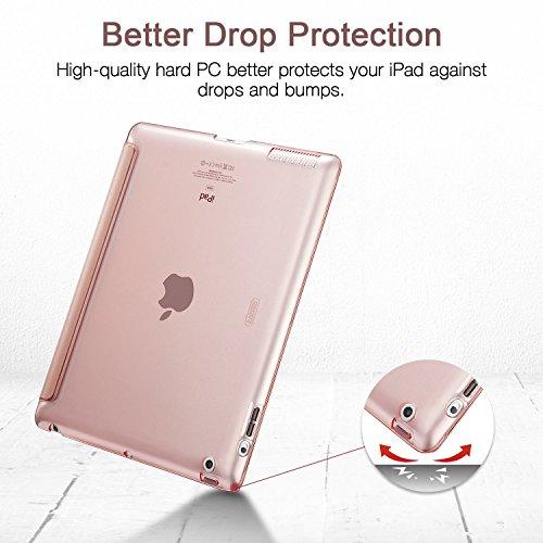 ESR Funda iPad 2/3/4 [Auto-Desbloquear] Función de Soporte [Botones Protegidos] Carcasa Ligera Antigolpes de Cuero Sintético y Plástico Duro Esmerilado Funda Smart Case para Apple iPad 2/ iPad 3/ 4ª Generación- Oro Rosa