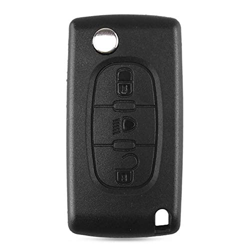 Febelle - Carcasa para llave de coche con 3 botones sin hoja para Citroen C2 C3 C4 C5 C6 C8