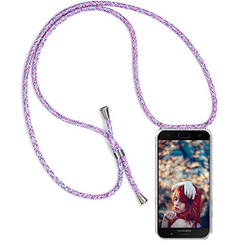 Funda con Cuerda para Samsung Galaxy A5 2017, [Moda y Practico] [ Anti-Choque] [Anti-rasguños] Suave Silicona Transparente TPU Carcasa de movil con Colgante/Cadena, púrpura