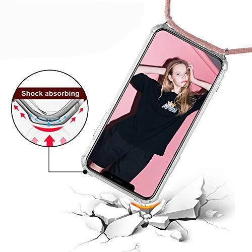 Funda con Cuerda para Samsung Galaxy S6, Carcasa Transparente TPU Suave Silicona Case con Correa Colgante Ajustable Collar Correa de Cuello Cadena Cordón para Samsung Galaxy S6 - Oro Rosa