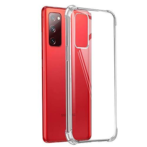 Funda para Samsung S20 FE con [2 Pack] Cristal Templado Protector de Pantalla, Suave TPU Transparente Silicona Anti-caída Protectora Carcasa para Samsung Galaxy S20 FE (Fan Edition) 4G / 5G 6.5''