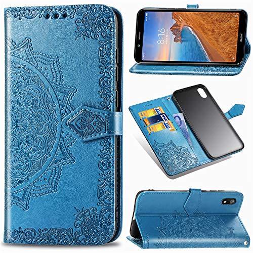 Funda para Xiaomi Redmi 7A, Carcasa Libro con Tapa Flip Case Antigolpes Golpes Cartera PU Cuero Suave Soporte con Correa Cordel - Mandala Azul