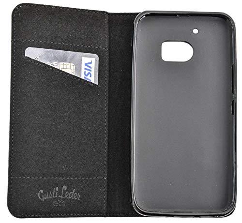 Funda Smartphone Gusti Cuero Estuche para HTC One M10 de Cuero Negro HTCOneM10-1-47-3