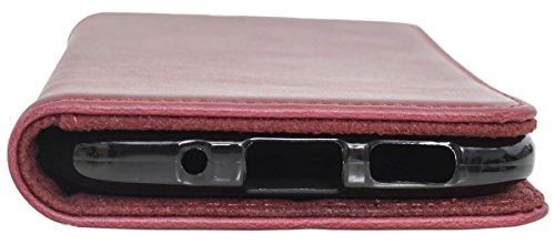 Funda Smartphone Gusti Cuero Estuche para HTC One M10 de Cuero Rojo HTCOneM10-1-47-6