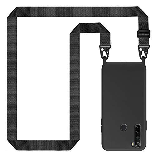 Genrics Funda con Cuerda para Xiaomi Redmi Note 8T, Carcasa de Silicona Líquida, Case con Correa Colgante Ajustable Collar Correa de Cuello Cadena Cordón, Negro