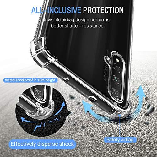 ivoler Funda para Huawei Nova 5T / Honor 20 / Honor 20S + [3 Unidades] Cristal Templado Protector de Pantalla, Fina Silicona Transparente TPU Carcasa Protector Airbag Anti-Choque Anti-arañazos Caso