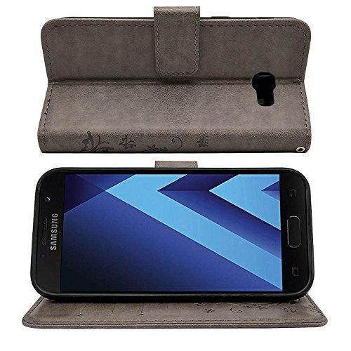 KUAWEI Funda Samsung Galaxy a5 2017 Cover Samsung A5 2017 Funda con Tapa Flip Cover con Soporte Plegable y Stand Función Ranuras para Tarjetas,Billetera,Cierre Magnético (Gris)
