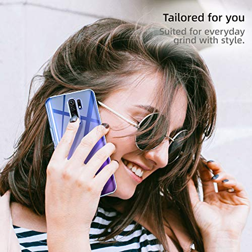 Leathlux Funda para Xiaomi Redmi 9, 3 Pack Protector de Pantalla Xiaomi Redmi 9, Transparente TPU Silicona Funda Cristal Vidrio Templado Protector de Pantalla y Carcasa para Xiaomi Redmi 9