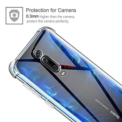 Leathlux Funda Xiaomi Mi 9T + [2 Pack] Cristal Templado Protector de Pantalla, Ultra Fina Silicona Transparente TPU Carcasa Airbag Anti-Choque Anti-arañazos Cover Xiaomi Mi 9T Pro/Redmi K20 Pro